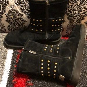 Uggs black  studded sheep skin zip boots